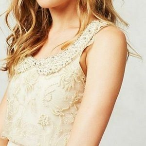 Anthro Moulinette Soeurs Magnolia Tulle Beaded Top